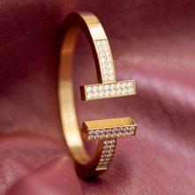 دستبند استیل ضد حساسیت با روکش طلا  برند تیفانی TIFFANY